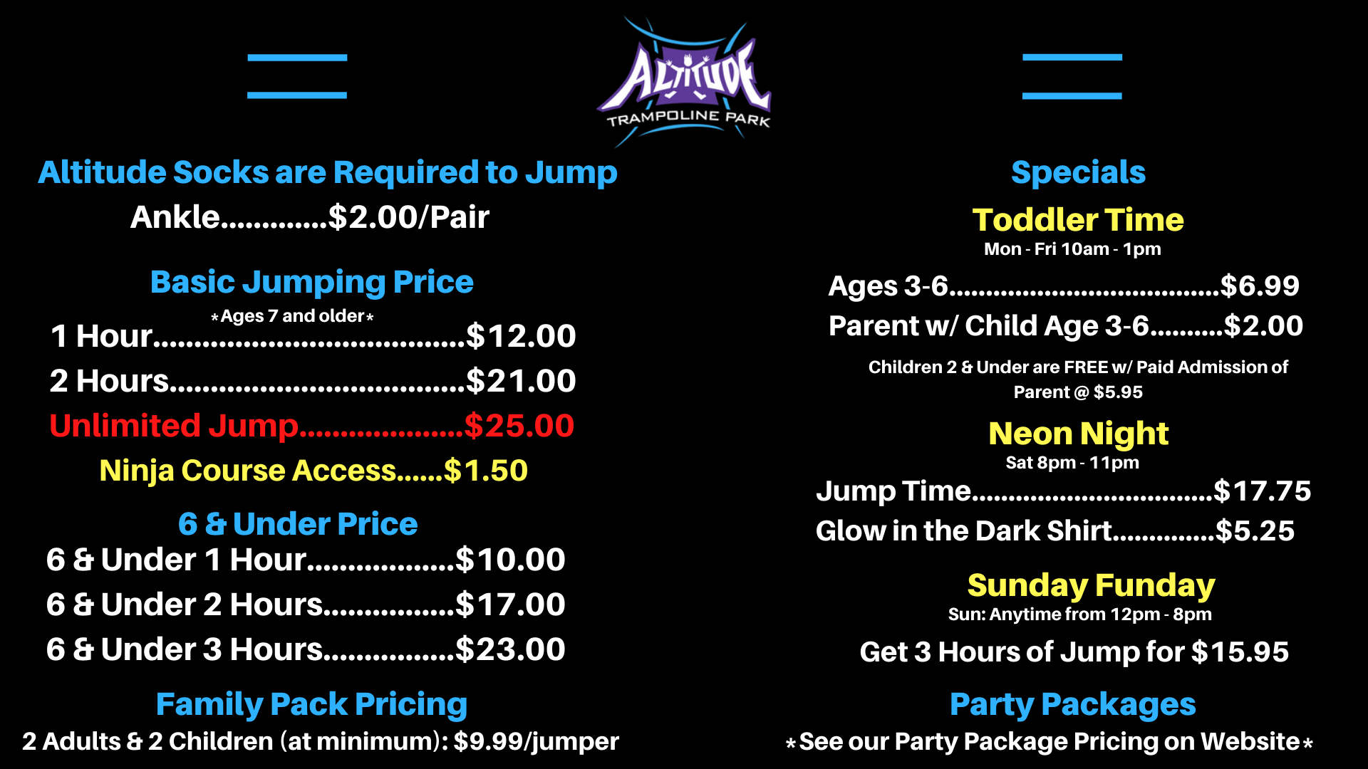 jump pricing altitude trampoline park bossier city altitude trampoline park bossier city